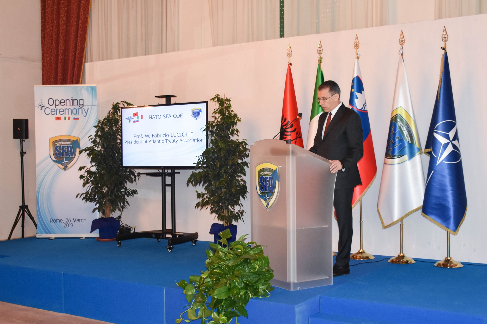 Speech by President Luciolli at the inauguration of the NATO Security Force Assistance Center of Excellence, Cesano, 26 March 2019.
