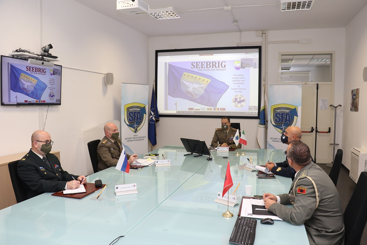 Virtual Meeting between NATO SFA COE and the SEEBRIG Commander